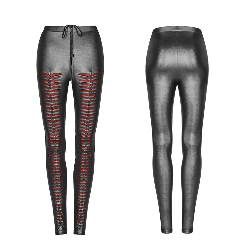 Steampunk Gothic PU Leather Hollow Out Vertical Stripe Leggings For Women Punk Black Sexy Low Waisted Women Skinny Trousers - 6