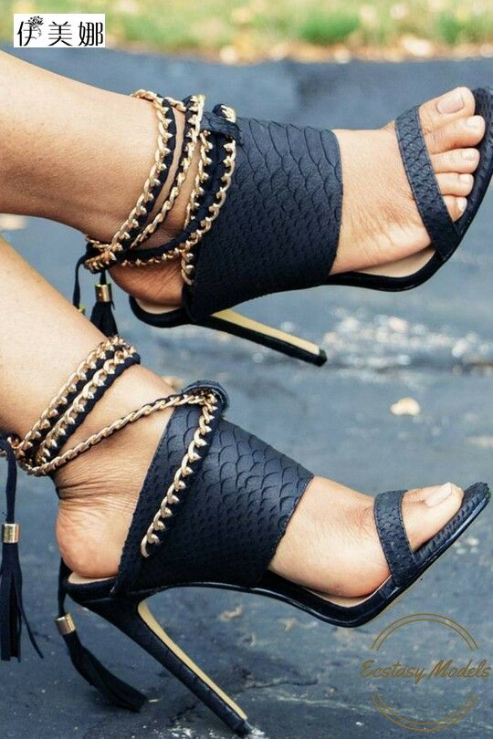 new summer gladiator sandals women high heels metal chain tassel sandals with the ankle strap stiletto sling blacks shoes woman цена