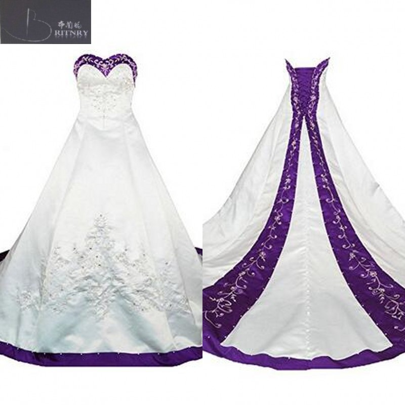 real pictures purple and white wedding dresses sweetheart neck a line embroidery formal chapel bridal gown lace-up back