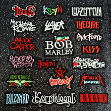 Pulaqi DIY Rock Bands Patches For Clothing Iron On Metal Patch Punk Stripes Clothes Embroidered Badges Stickers