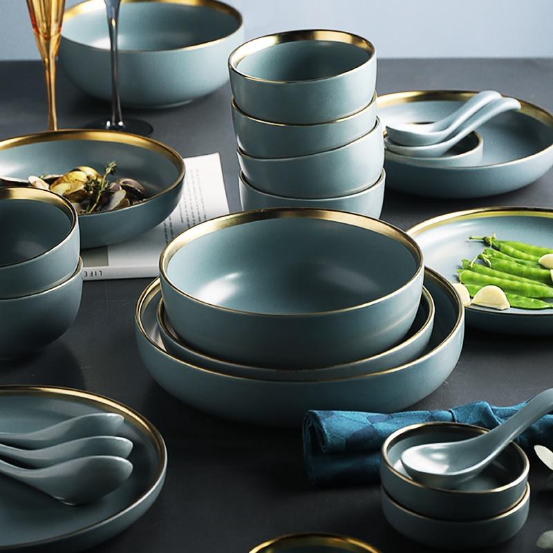 KINGLANG 2 or 4  or 6 person set Golden edge plates Ceramic Dinnerware Set  NEW Blue Golden Ceramic Tableware Set Wholesale