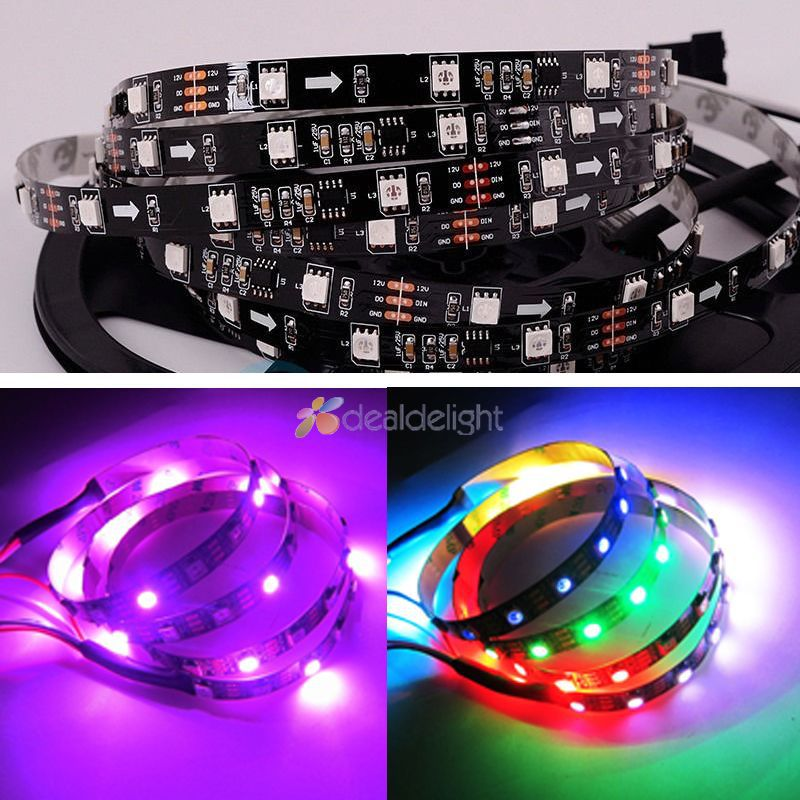 Straightforward 5m Dc12v Ws2811 5050 Digital Rgb Color Led Strip 30led/m 150leds Non-waterproof Dream Color Led Strip 10mm Black Pcb Fashionable And Attractive Packages Led Strips Led Lighting