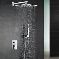 10 Inch Shower Head Luxury Wall Mounted Square Style Brass Waterfall Shower Set Factory Direct New