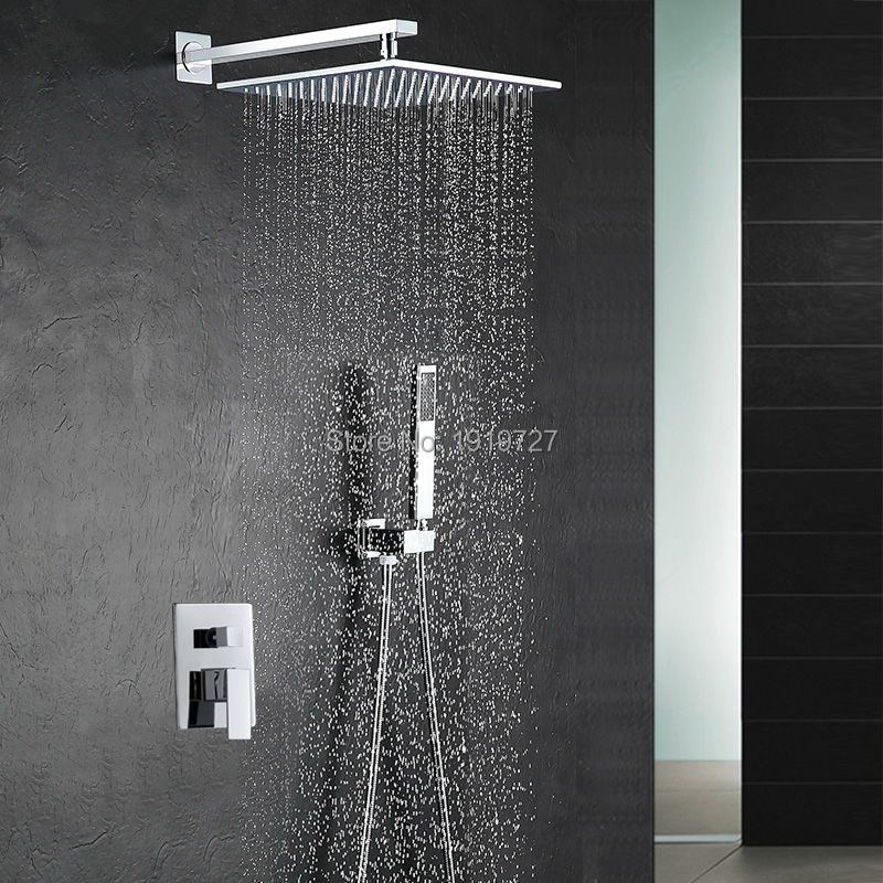 10 Inch Shower Head Luxury Wall Mounted Square Style Brass Waterfall Shower Set Factory Direct New Rainfall Bathroom Shower Kit