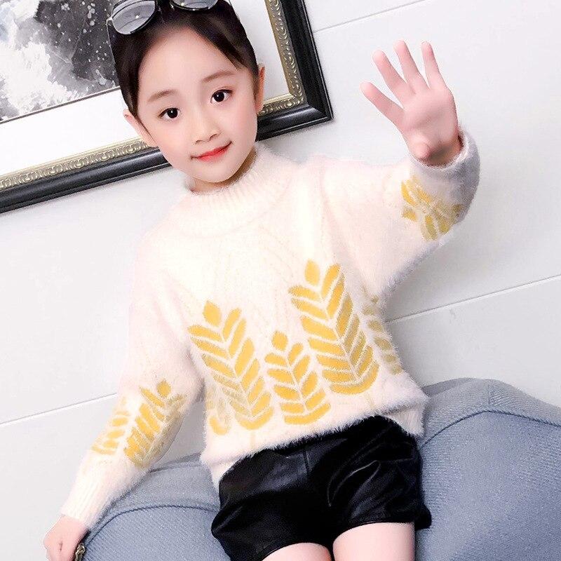Mädchen Kleidung Mädchen Nachahmung Samt Weizen Herbst Sweater2019 Neue Kinder Dicken Pullover Mädchen Oceanic Rundhals T-shirt Bodenbildung Jade Weiß Mutter & Kinder