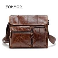High Quality Vintage Retro Men S Crossbody Bags Oil Wax Genuine Leather Shoulder Men Briefcase Travel