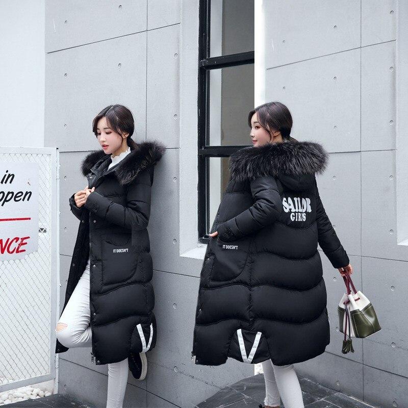Long Veste Mode Coréenne gris Bleu Dames D'hiver Noir Green Al marron Cheveux Vêtements army Vers Paragraphe Bas Épais Chaude Slim marine Haute Manteau Col rouge rose Qualité Coton De Le IPUggv