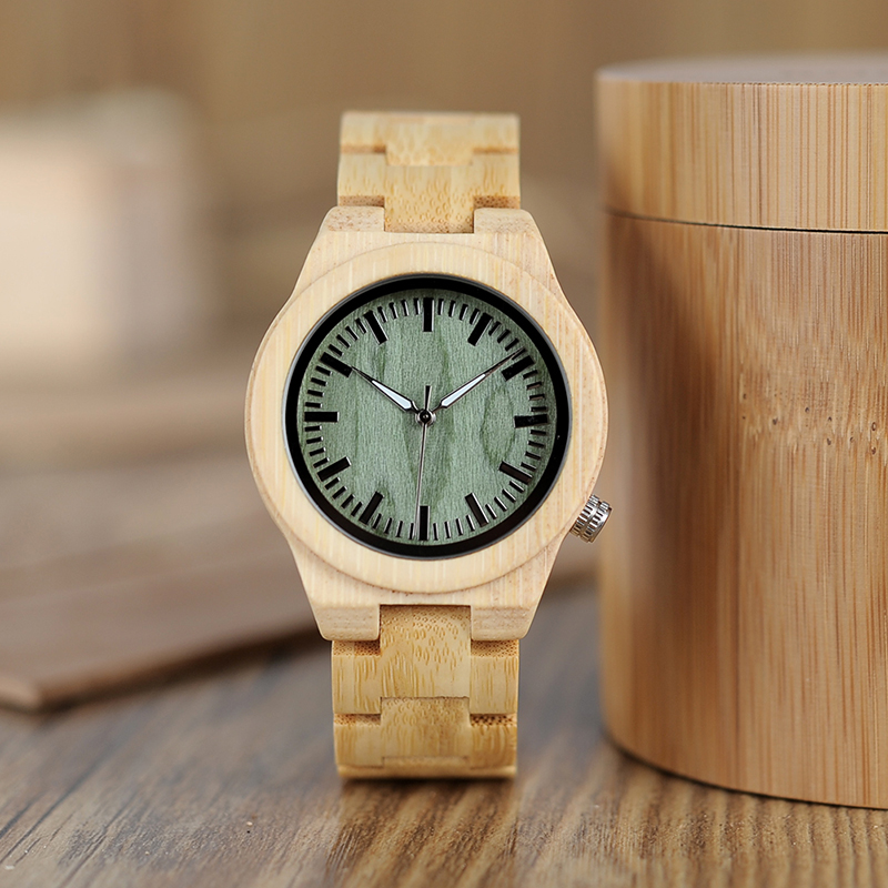 BOBO BIRD lovers' Wooden Watch Full Bamboo Green Dial Quartz Watches for Couples in Bamboo Gift Box bobo bird luxury bamboo wood men watch with engrave flower bamboo band quartz casual women watch full wooden watch in gift box