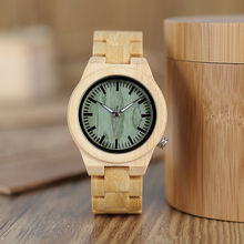 BOBO BIRD lovers Wooden Watch Full Bamboo Green Dial Quartz Watches for Couples in Bamboo Gift Box