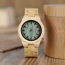 BOBO oiseau amoureux montre en bois pleine bambou vert cadran montres à Quartz pour les Couples dans une boîte cadeau en bambou