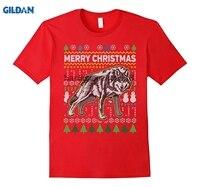 GILDAN 2018 Wolf Wildlife Series Merry Christmas Ugly Sweater T Shirt