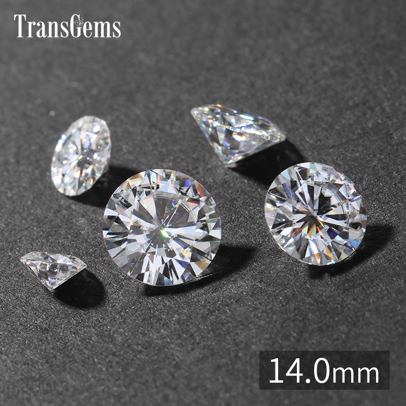TransGems 13.5mm 9 Carat GH Color Certified Lab Grown Moissanite Diamond Loose Bead Test Positive As Real Diamond Gemstone genuine14k 585 white gold push back 1carat ctw test positive lab grown moissanite diamond earrings for women