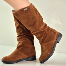 2015 New Fashion Women's Knee High Boots Vintage Style Round Toe Platform Low Thick Heels Winter Autumn Shoes Hot Sale