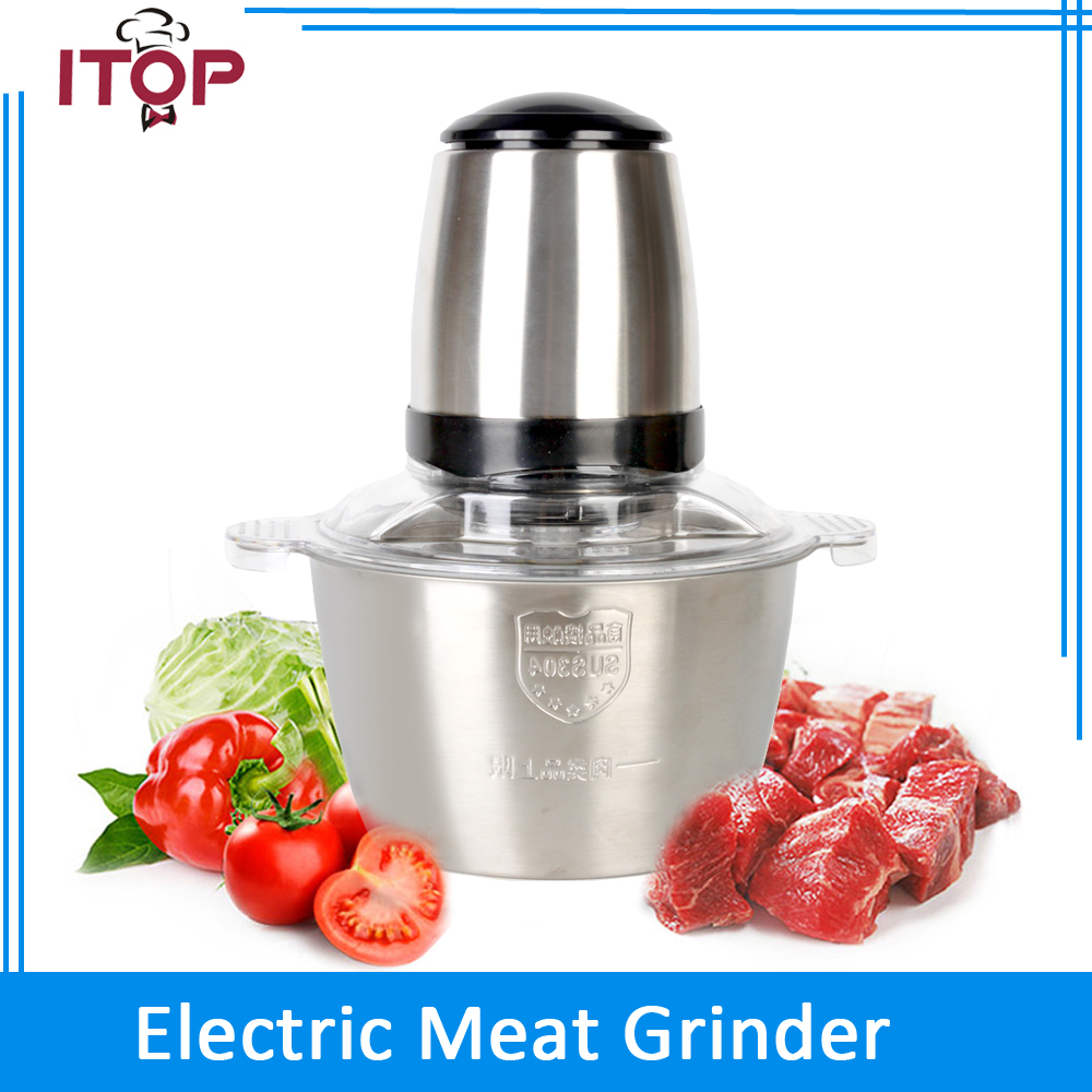 ITOP 350W High Speed Electric Meat Grinder Stainless Steel Bowl 2L Suitable for Home use  Meat Chopper