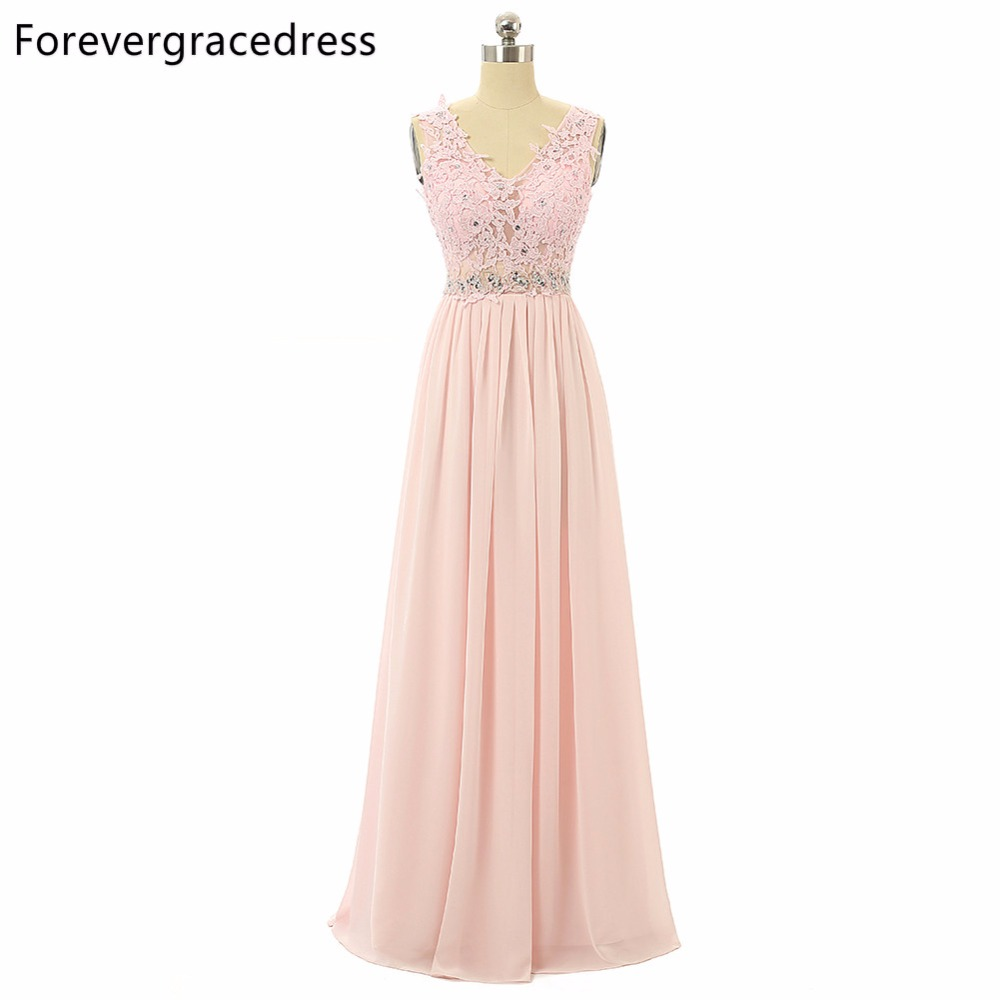 Forevergracedress Real Pics Lace Pink Colour Bridesmaid Dress V Neck Chiffon Long Wedding Party Gown Plus Size Custom Made