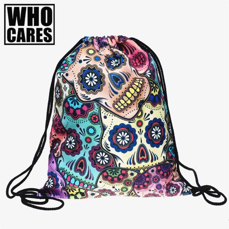 Mexican skull 3D printing mini Backpack women 2017 fashion Women travel softback men mochila drawstring bag backpacks sac a dos