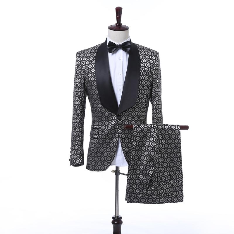 2017 Nouvelle Marque De Luxe Smoking De Mariage Costumes Pour Hommes Mince Fit Échelle Motif Smoking Veste Avec Un Pantalon De Mode Imprimé Hommes costumes