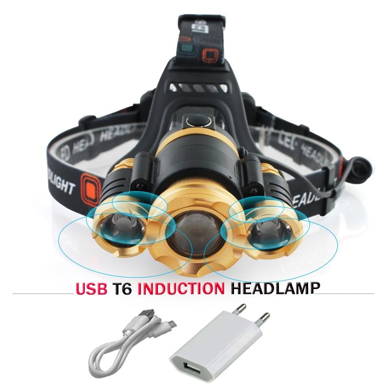 IR Sensor Induction led head lamp Zoom XML t6 headlamp Micro USB Headlight head torch 18650 Lanterna Portable Lighting headlamp
