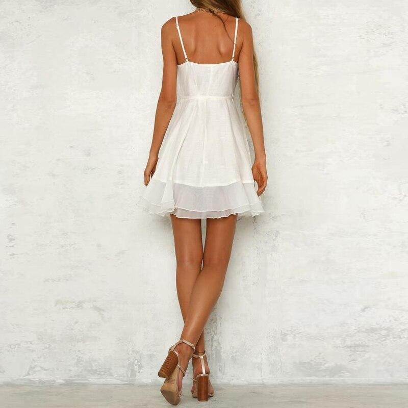 418dfbeb89 Sexy v neck strap mini dress women white short dresses ruffle sundress  Sleeveless warp summer dress robe femme ete 2018 CD273-in Dresses from  Women s ...