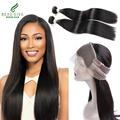 360 Lace Frontal With Brazilian Virgin Hair Straight 2 Bundles,8A Free Part With Baby Hair 360 Lace frontal straight Closure