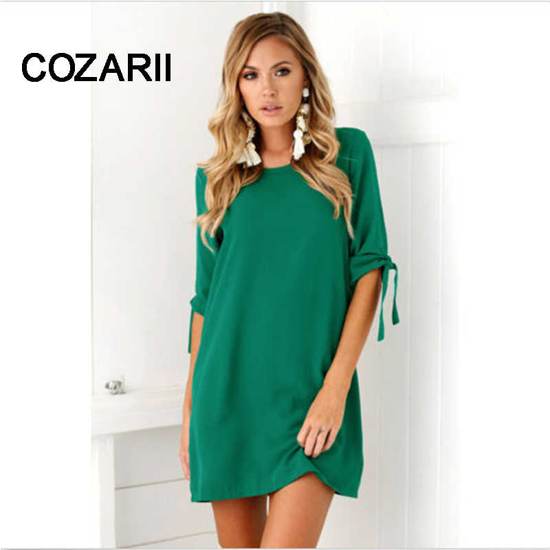 COZARII Summer Dress 2018 Women's Short Sleeve Casual O-Neck Loose Dress Beach Dresses Plus Size Vestidos Dropshipping