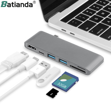 6 IN 1 USB C Hub Multifunction Type C Adapter to to HDMI SD/Micro Card Reader & 2 USB 3.0 Ports for New MacBook Pro 15 16 Air 13