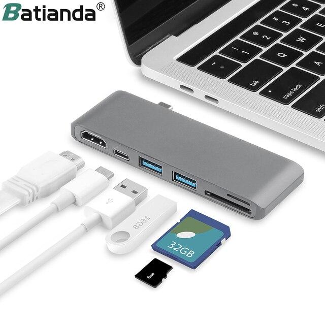 6 IN 1 USB C Hub Multifunktions Typ C Adapter zu zu HDMI SD/Micro Kartenleser & 2 USB 3,0 Ports für Neue MacBook Pro 15 16 Air 13