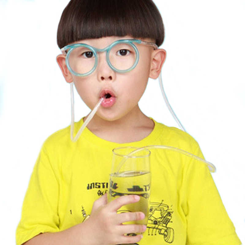 Colorful Glasses Straws Flexible Drinking Straw Tube Birthday Party Decoration Photobooth Accessories