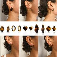 Vintage Fashion Resin Personality Leopard Heart Stud Earrings For Women Geometric Irregular 2019 Trendy Acrylic Jewelry