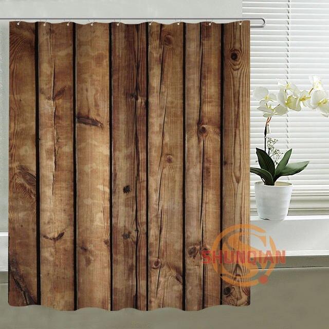shunqian rideau de douche en faux bois et polyester pour salle de bain rideau en tissu 3d etanche crochets