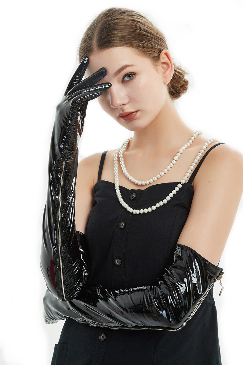 60cm 23 6 long side real open zipper style real patent leather long opera gloves patent