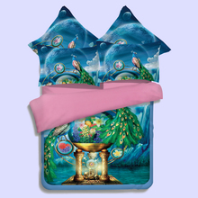 3d vivid peacock flowers duvet cover king queen twin full sizes girls adults bedding sets 3