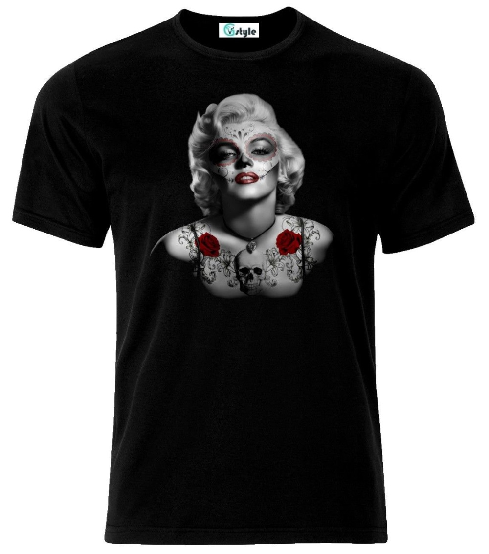 Marilyn Monroe Tattoo Skull T Shirt 2019 Fashion Brand Men