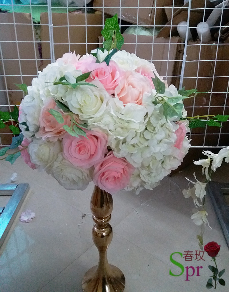 Spr Pink With Green White Wedding Table Centerpiece Flower Ball