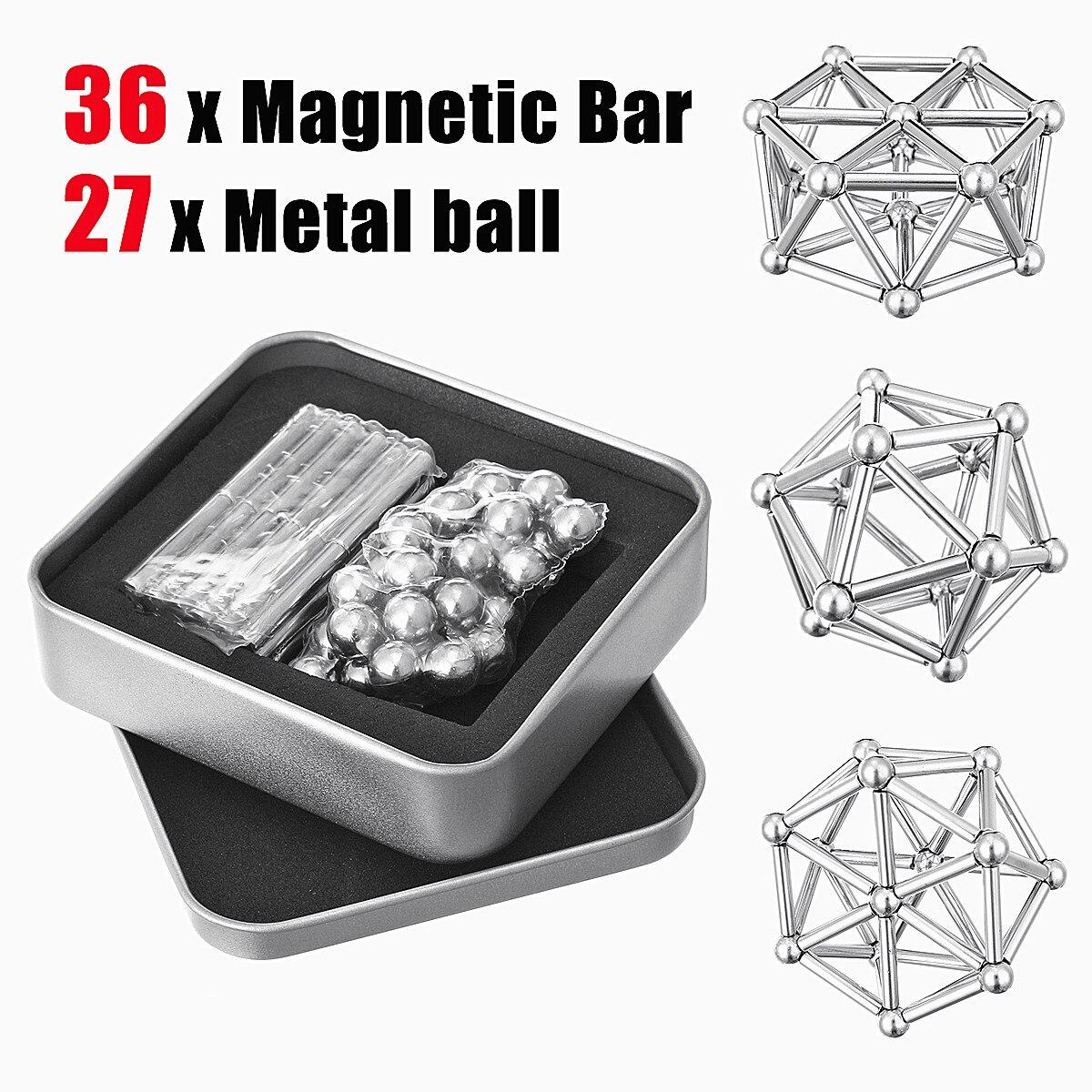 63Pcs Neodymium Magnetic Bars Metal Balls Permanent Magnet Pressure Relief Neodymium Magnet 8mm neodymium magnet sphere steel balls diy puzzle set silver 20 pcs