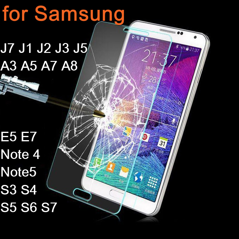 Tempered Glass For Samsung Galaxy J7 J1 J2 J3 J5 A3 A5 A7 A8 E5 E7