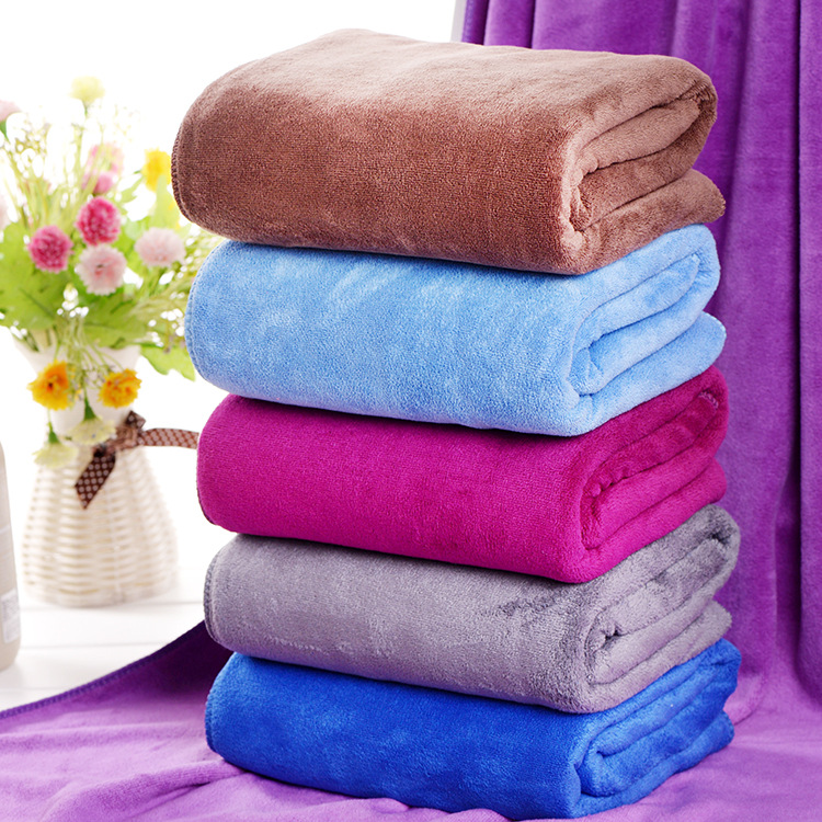 High quality Hot sale Pure color Big size and thick Super Soft excellent Water Quick 100% microfiber bath towel