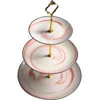 Ceramic creative fruit plate three layer snack stand afternoon tea pastry dish fruit plate cake shelf ZP12171800