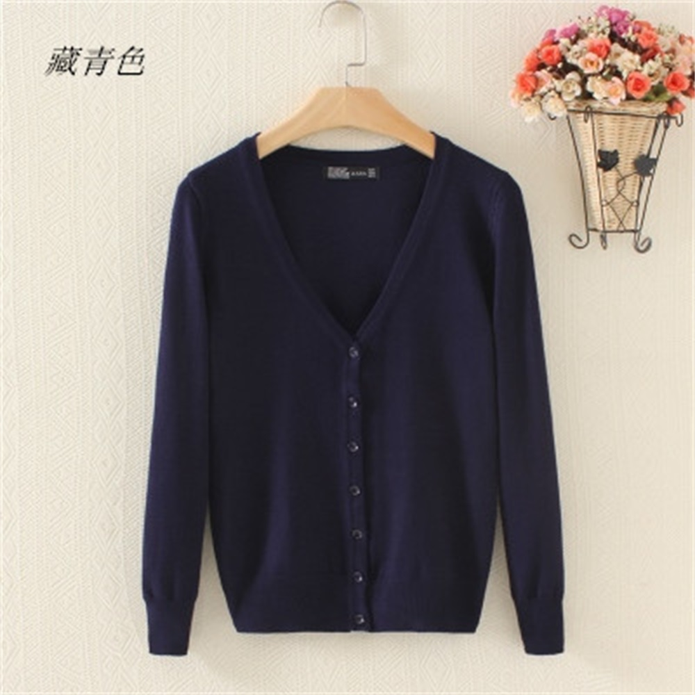 Spring And Autumn Outer V-neck Knit Cardigan Female Short Paragraph Sweater Slim Models Long-sleeved Jacket Big Yards Ride
