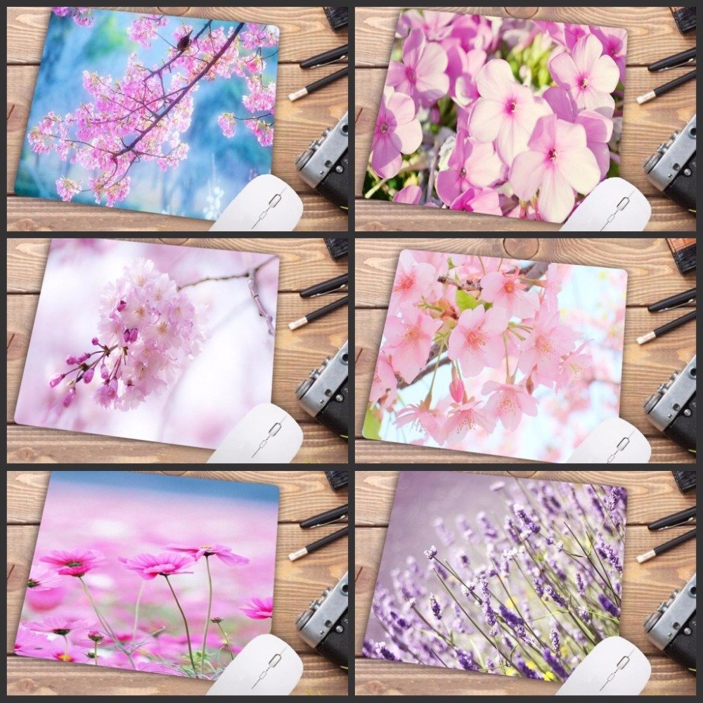 Mairuige Promotion Russia Pink Flower Print Mousepad Rubber Rectangle Computer Notebook Mice Mat Gamer Speed Mouse Pads 22X18CM