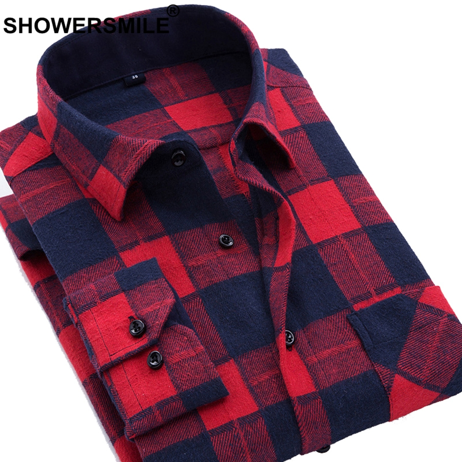 ea1570308253 Cheap Casual Shirts, Buy Directly from China Suppliers:SHOWERSMILE Red  Checkered Shirt Plus Size