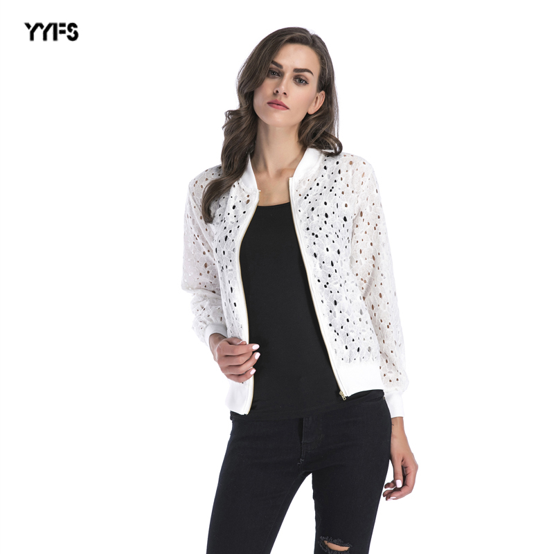 2018 Flor del gancho encaje hueco blusa Zipper Cardigan chaqueta de manga larga abierto Stitch Coat mujeres abrigos ropa
