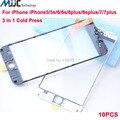 AAA Качество Холодного Отжима 3 в 1 Передняя Внешний Стеклянный Объектив С рамка и ОСА для iphone 7g 7 плюс 6 плюс 6 s плюс 6 5 5S Отреставрировать части