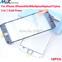 10 PCS Cold Press 3 in 1 Front Outer Glass Lens With Frame & OCA for iphone 7g 7plus 6plus 6s plus 6 5 5s 5c