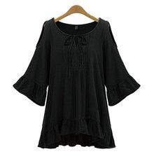 New Fashion Women Plus Size T Shirt Ruffles Hem Flounced Sleeve Cold Shoulder Tunic Top XL-5XL