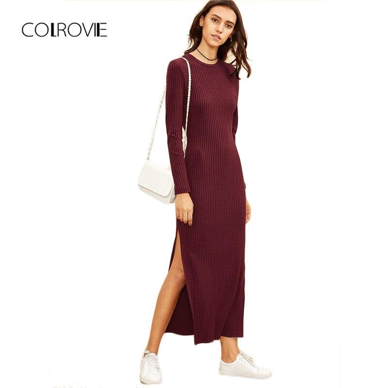 COLROVIE зимние платья для женщин Европейский стиль женские осенние платья бордовый вязаный длинный рукав с высоким разрезом Ребристое платье