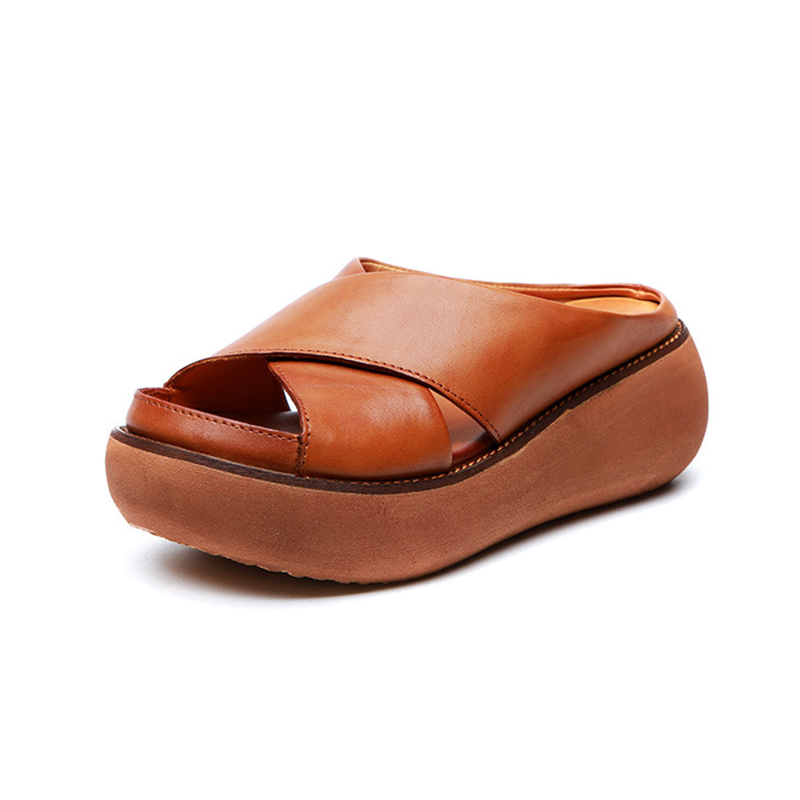 YLQP Women s Slippers Genuine Leather Platform Sandals 2019 Summer Thick Sole Sandles Ladies Shoes Wedges
