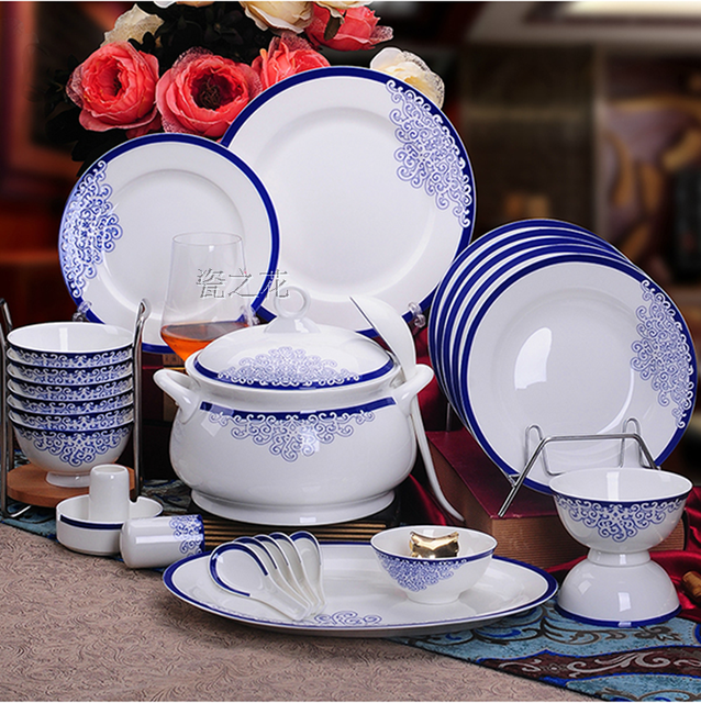 Bine China 46pcs Dinnerware Set Ceram Tableware Set Ceramic Plates Bowls Dishes Plates Soupe Bowls & Bine China 46pcs Dinnerware Set Ceram Tableware Set Ceramic Plates ...