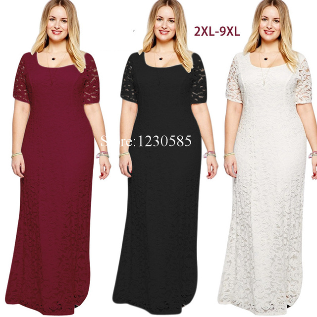 Gorgeous Wine Red White Black O Collar Short Sleeves Lace Long Women Dress  Sexy Sheer Maxi Dress Plus Size Vestidos 7XL 8XL 9XL 3e6c961caace