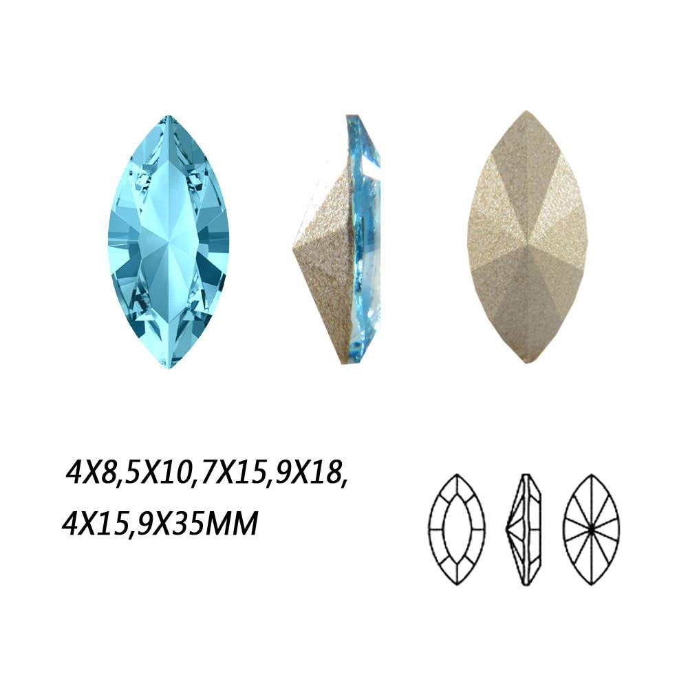 NYMR #4200S Lt.Aquamarine Glitter Gems Crystal Setting Sew On Stones With Claw Fancy Pointback Rhinestone Navette